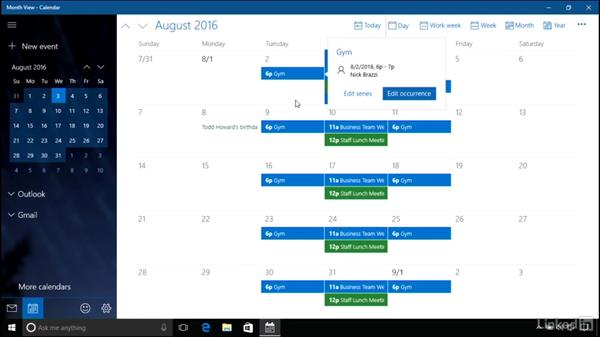 Using the Calendar: Windows 10 Anniversary Update Essential Training