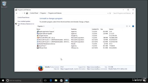Uninstalling applications: Windows 10 Anniversary Update Essential Training