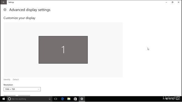 Changing screen resolution: Windows 10 Anniversary Update Essential Training