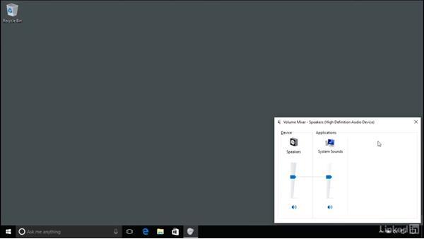 Adjusting audio settings: Windows 10 Anniversary Update Essential Training