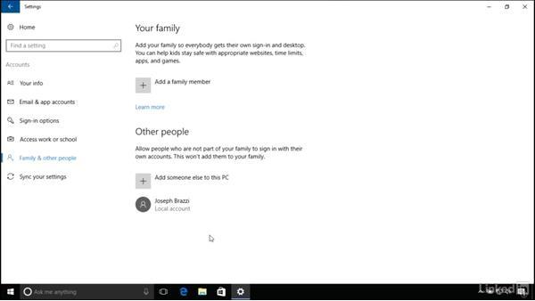 Managing user accounts: Windows 10 Anniversary Update Essential Training