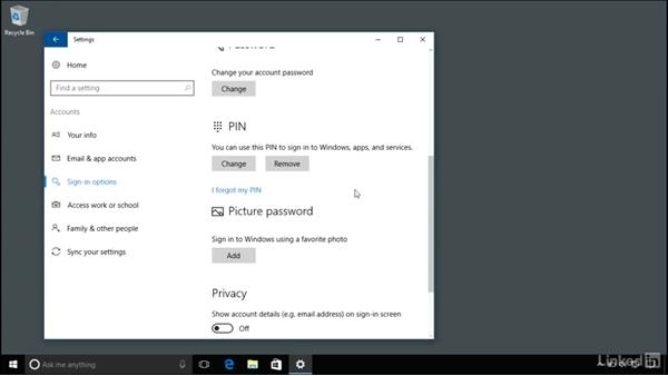 Sign in options and the lock screen: Windows 10 Anniversary Update Essential Training