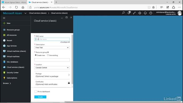 Create a new cloud service: Microsoft Azure for Developers