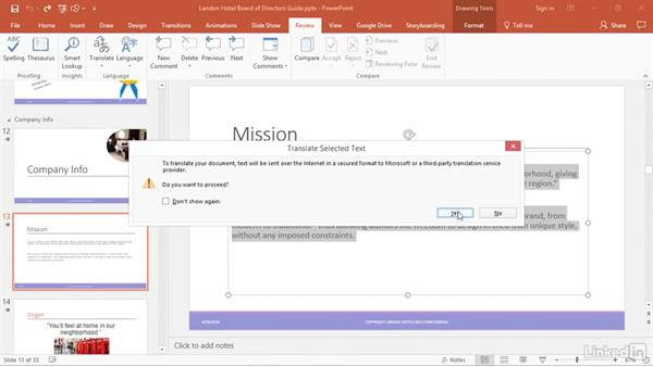 Use the language tools: PowerPoint 2016 Tips and Tricks