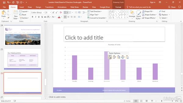 Copy and embed charts onto a slide: PowerPoint2016 Tips and Tricks