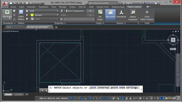 Setting hatch patterns: AutoCAD Facilities Management: Areas