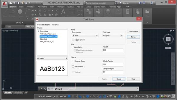 Text styles: AutoCAD Facilities Management: Areas