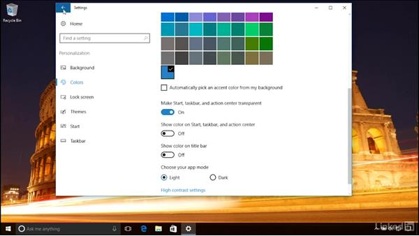 Customizing the desktop wallpaper and other visual details: Windows 10 Anniversary Update Essential Training