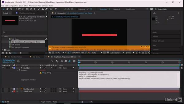 Amplitude, frequency, and decay: After Effects Guru: Expressions