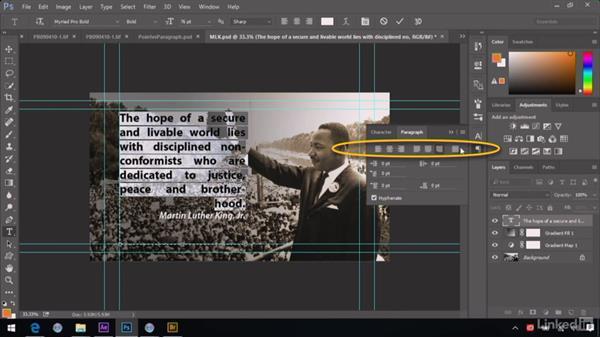 Using advanced alignment controls: After Effects Guru: Advanced Photoshop Integration