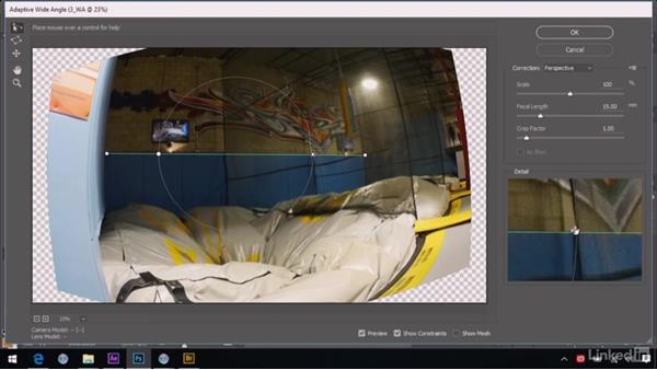 Removing wide-angle distortion: After Effects Guru: Advanced Photoshop Integration