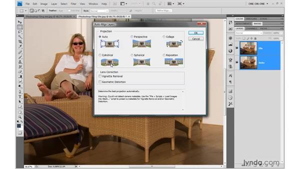 Applying Auto-Align layers: Photoshop CS4 One-on-One: Mastery