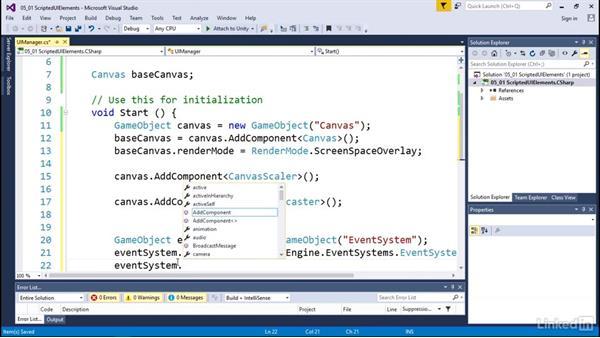 Script UI elements: Programmatic UI with Unity