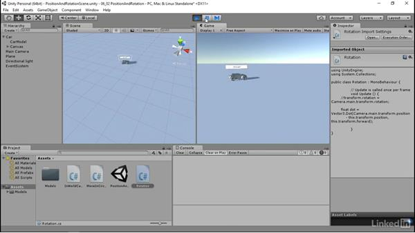 Position and rotation: Programmatic UI with Unity