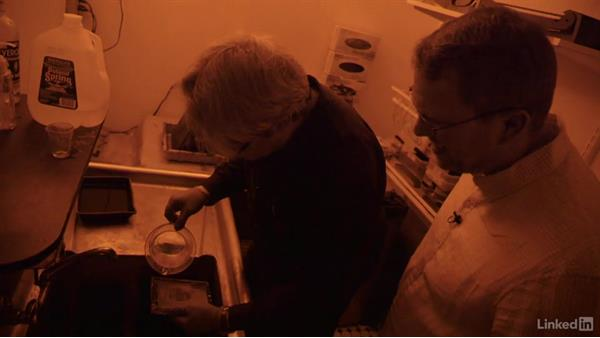 Developing the tintype plate in the darkroom: Tintype Photography at New York's Penumbra Foundation