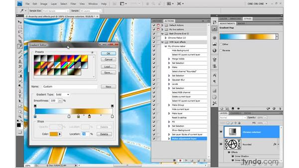 Applying chrome with Gradient Map: Photoshop CS4 One-on-One: Mastery