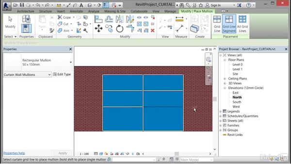 Changing elements within a curtain wall (grids, panels, and mullions): Cert Prep: Revit Architecture Certified Professional