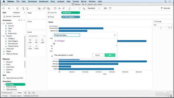 Create calculations based on a parameter: Tableau 10 for Data Scientists