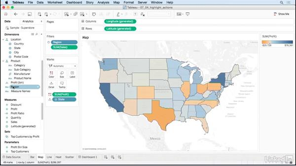 Highlight actions: Tableau 10 for Data Scientists