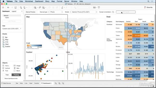 Device-specific dashboards: Tableau 10 for Data Scientists