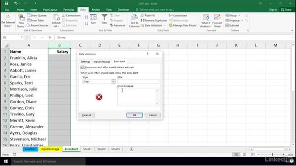 Using the Error Alert tab: Excel 2016: Data Validation in Depth