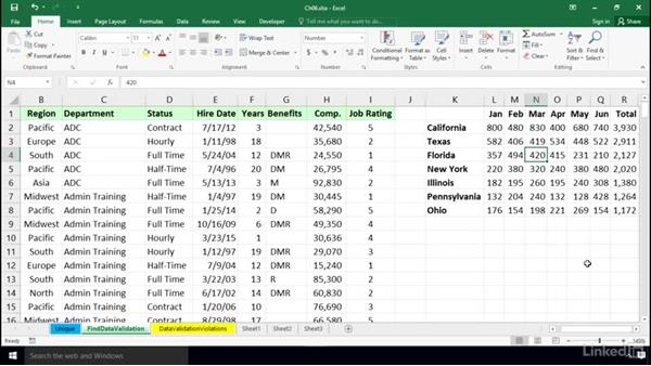 Locating cells with data validation rules: Excel 2016: Data Validation in Depth