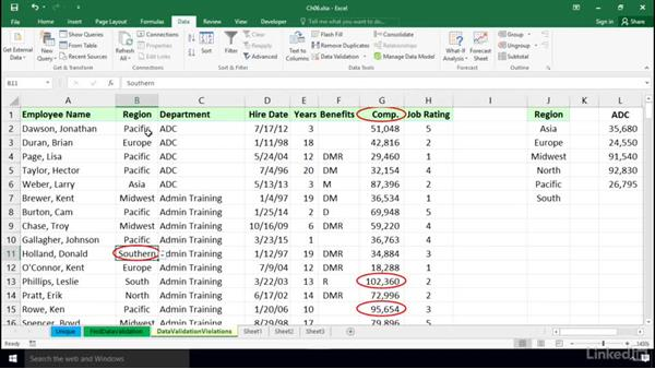 Identifying cells that violate data validation rules: Excel 2016: Data Validation in Depth