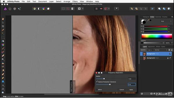 Using frequency separation: Affinity Photo: Basic Portrait Retouching