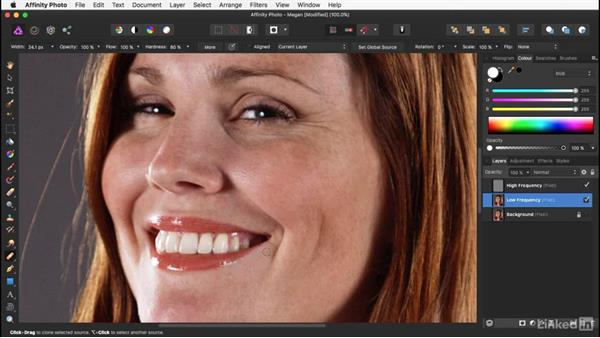 Smoothing with frequency separation: Affinity Photo: Basic Portrait Retouching