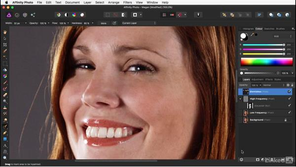 Removing large blemishes: Affinity Photo: Basic Portrait Retouching