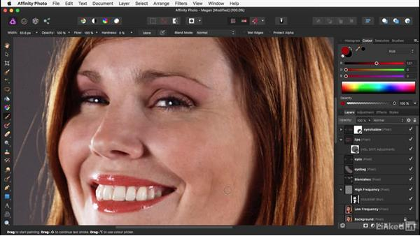 Painting the makeup: Affinity Photo: Basic Portrait Retouching