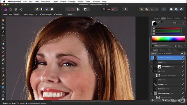 Adding clarity to the hair: Affinity Photo: Basic Portrait Retouching