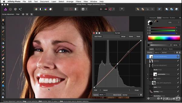 Strengthening the image with Curves: Affinity Photo: Basic Portrait Retouching