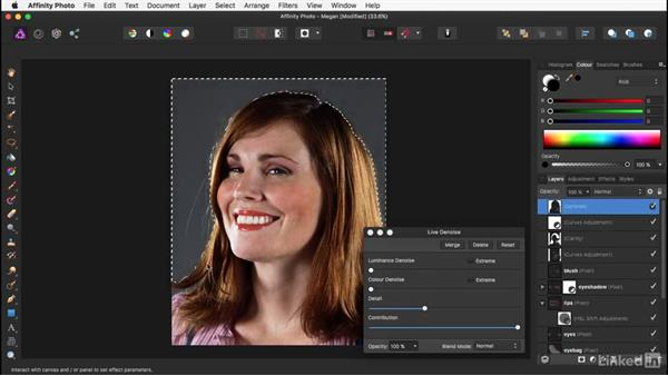Smoothing with the Denoise filter: Affinity Photo: Basic Portrait Retouching