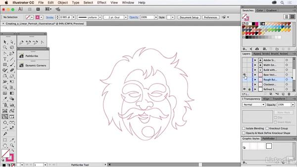 Creating a linear portrait illustration: Drawing Vector Graphics Laboratory