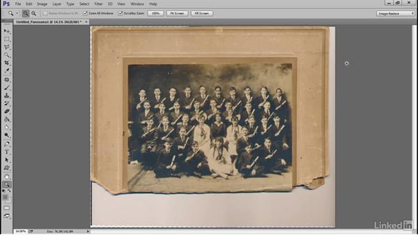 Stitch the image using Photo Merge: Photoshop Restoration Techniques: Scanning Oversized Photos
