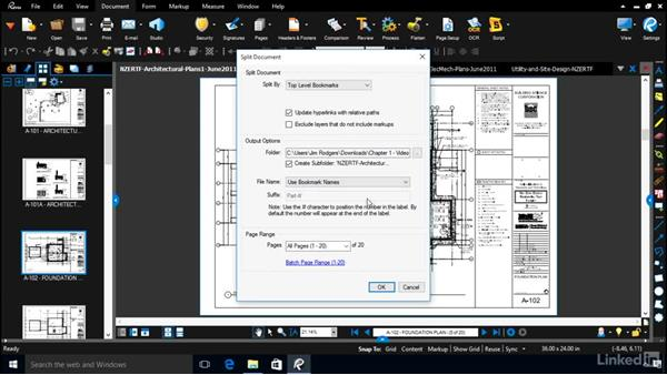 Splitting pages into separate files: Bluebeam: Managing Construction Drawings Digitally