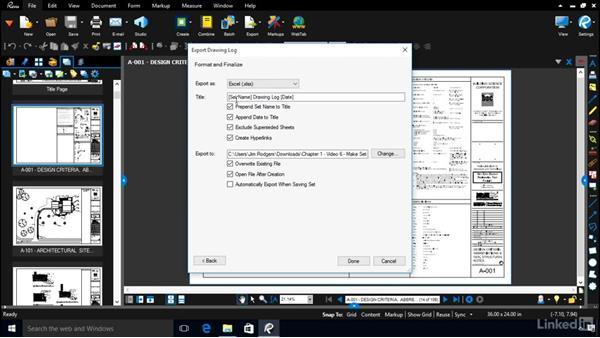 Generating a hyperlinked drawing log: Bluebeam: Managing Construction Drawings Digitally