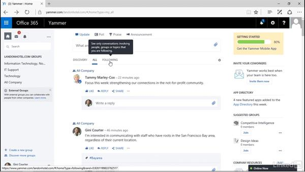 Follow people and topics: Yammer 2016 Essential Training