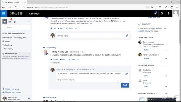 Like, reply, and share: Yammer 2016 Essential Training
