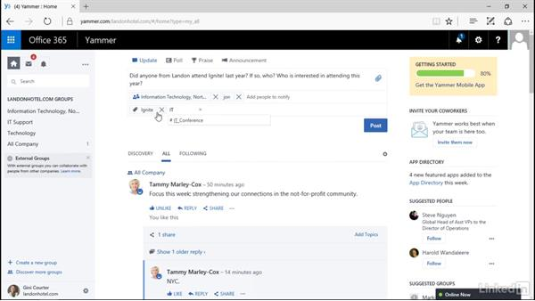 Post a message: Yammer 2016 Essential Training