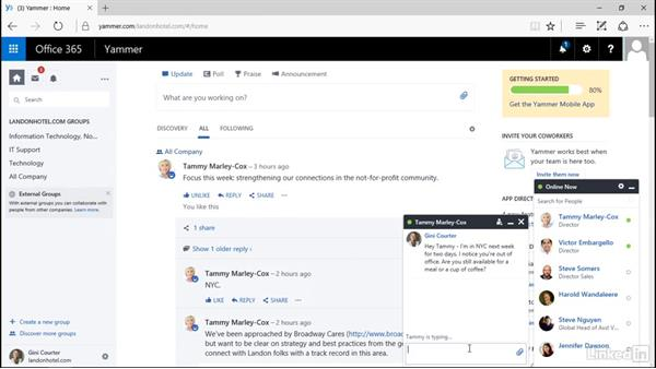 Send a private message: Yammer 2016 Essential Training