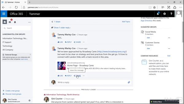 Chat with a colleague: Yammer 2016 Essential Training