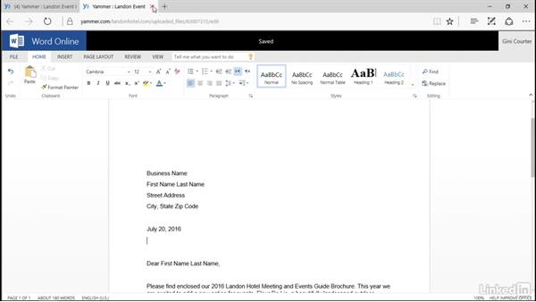 Edit an Office document: Yammer 2016 Essential Training