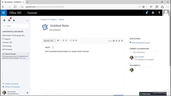 Create and publish a note: Yammer 2016 Essential Training