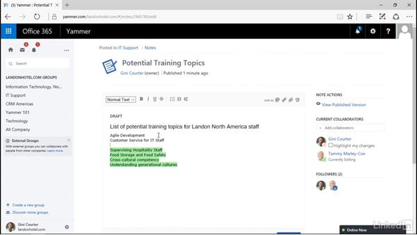 Edit a note: Yammer 2016 Essential Training