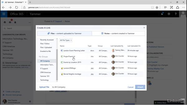 Add links to a note: Yammer 2016 Essential Training