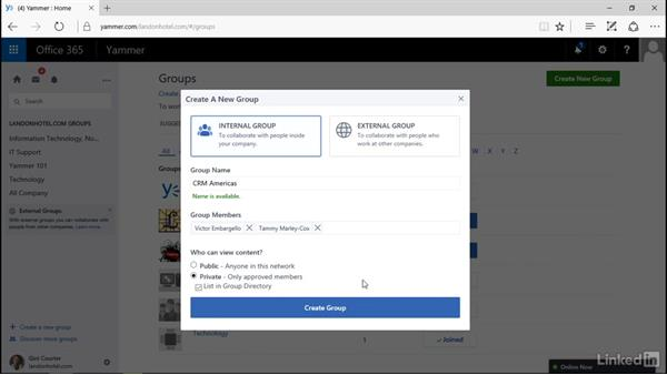 Create a new group and add members: Yammer 2016 Essential Training