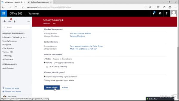 Administer a private group: Yammer 2016 Essential Training
