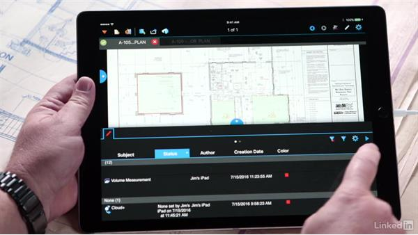 Using the Markups list: Bluebeam: On the iPad